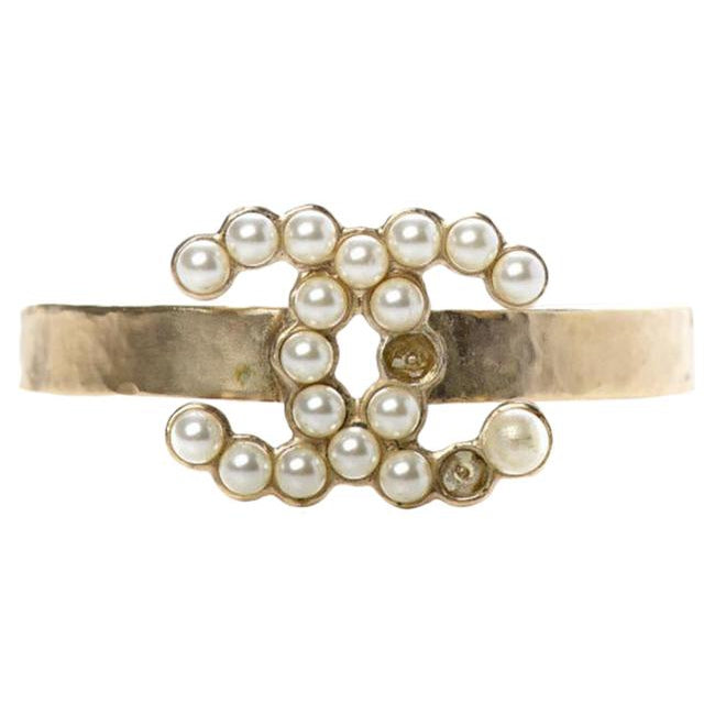 Chanel Gold Pearl Cc Cuff Pearly White Bracelet