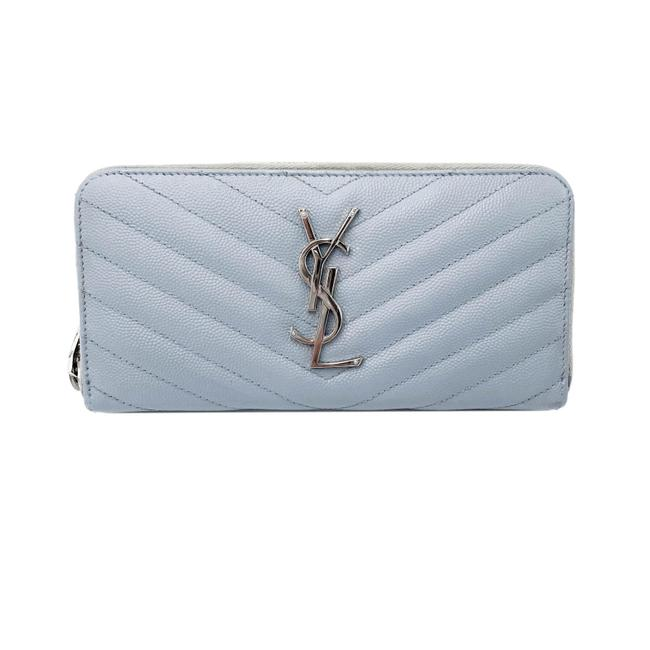 Saint Laurent Grey Grain De Poudre Matelasse Chevron Monogram Zip Around Wallet
