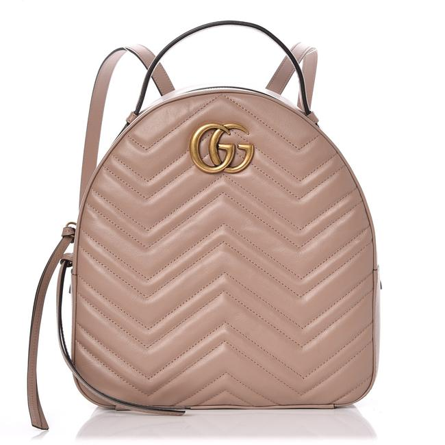Gucci Tote Bag GG Marmont Calfskin Matelasse Porcelain Rose Pink Leather Backpack