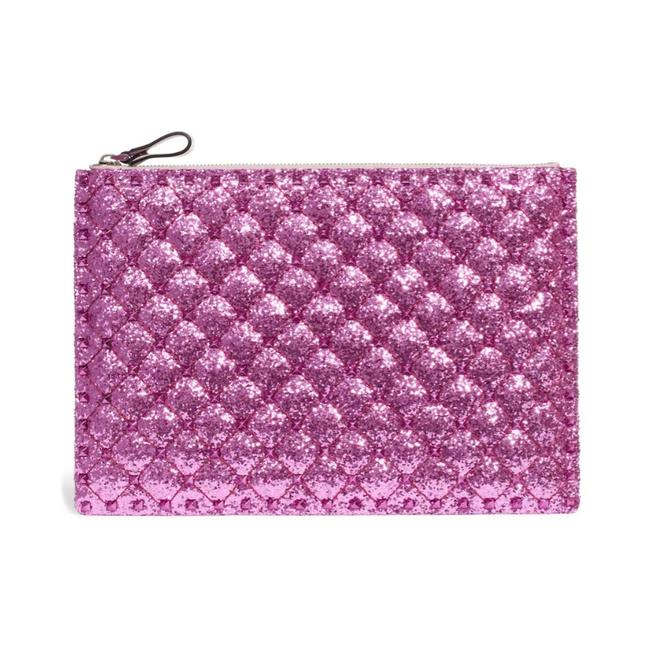 Valentino Spike It Sequin Pouch Pink Leather Clutch