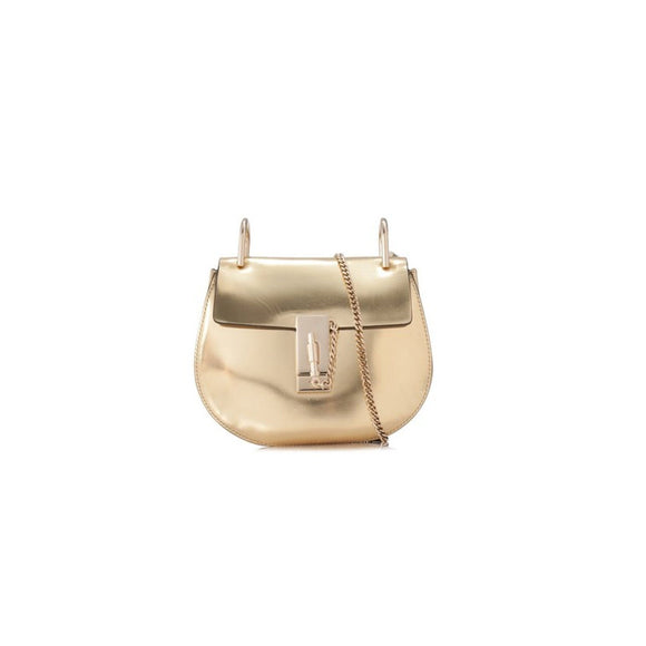 Chloe Drew Mini Chain Shoulder Gold Leather Cross Body Bag