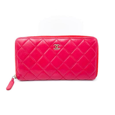 Chanel Pink Lambskin Quilted Large Gusset Zip Around Wallet