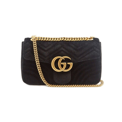 GUCCI GG Marmont Mini Velvet Quilted Shoulder Bag Black