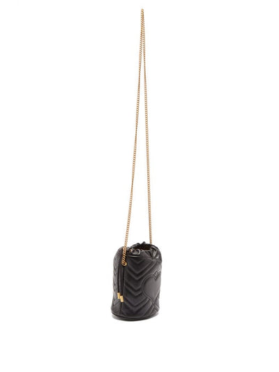 GUCCI GG Marmont Leather Bucket Bag Black