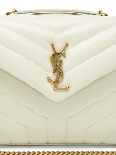 Saint Laurent Small Loulou Monogram Quilted Leather Crossbody White