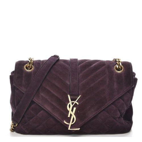 Saint Laurent Purple Monogram Quilted Matelassé Suede Envelope Satchel Triquilt