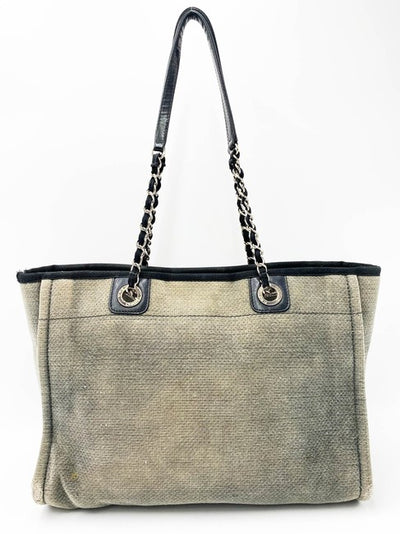 Chanel Deauville Small Grey Canvas Tote