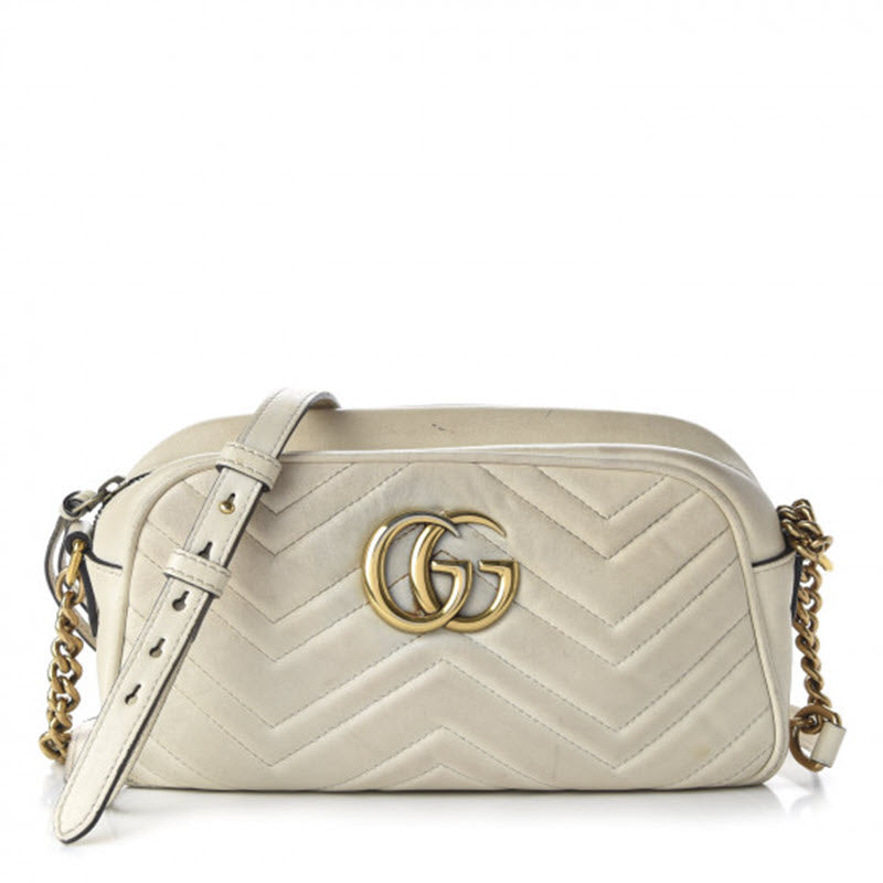 Gucci Marmont Calfskin Matelasse Small Gg Chain White Leather Shoulder Bag