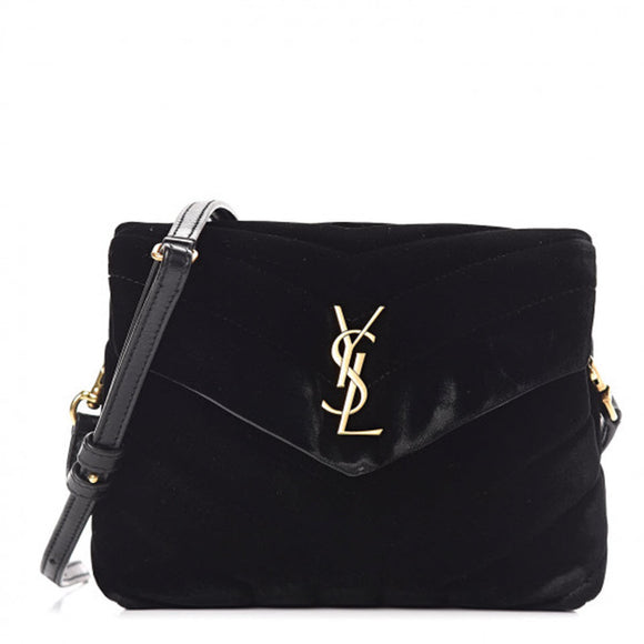 Saint Laurent Monogram Loulou Matelasse Toy Monogram Chain Black Velvet Satchel