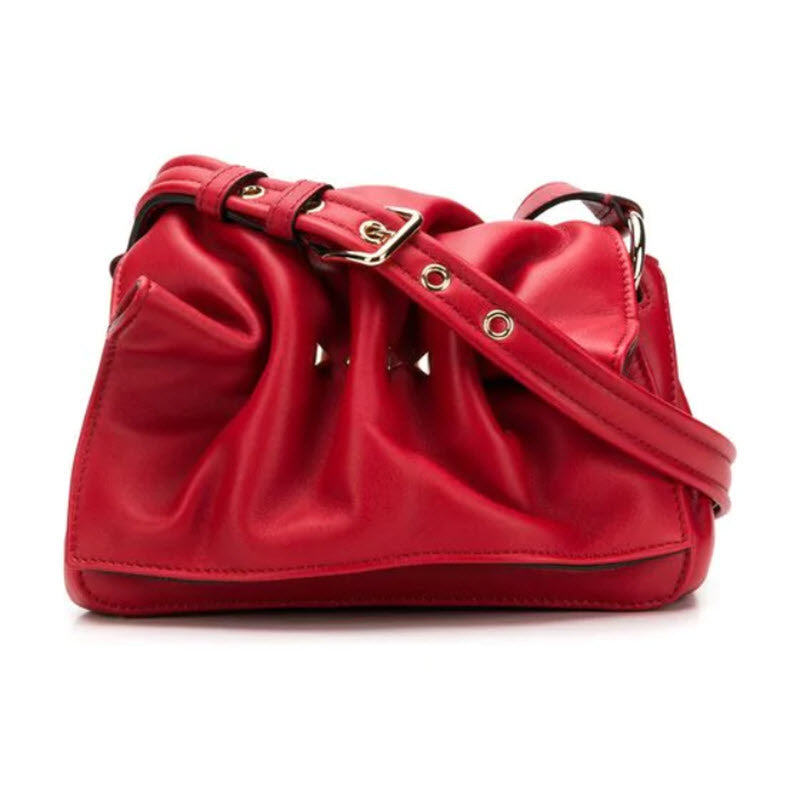 Valentino Rockstud Bloomy Mini Gathered Red Leather Cross Body Bag