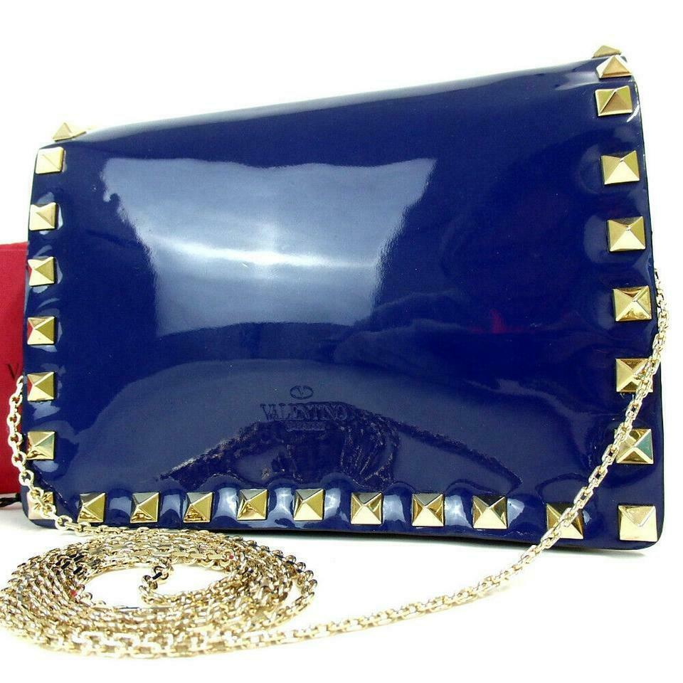 Valentino Rockstud Chain Blue Patent Leather Cross Body Bag