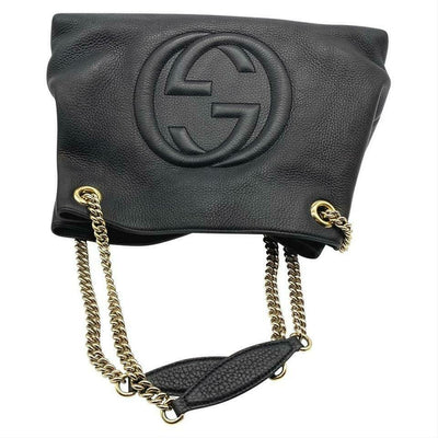 Gucci Soho Pebbled Calfskin Medium Chain Black Leather Shoulder Bag