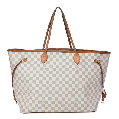 Louis Vuitton Neverfull Damier Azur Gm White Coated Canvas Tote