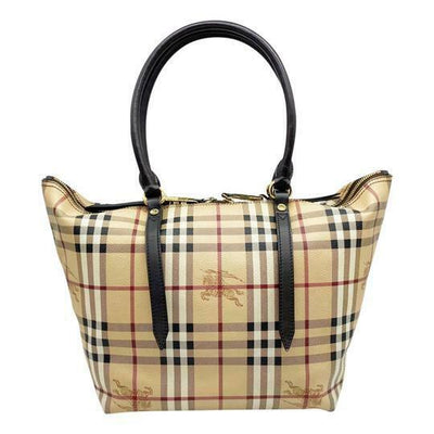 Burberry Haymarket Check Small Salisbury Chocolate Brown Coated Canvas Tote