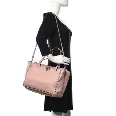 Valentino Medium Grained Rockstud Tote Pink Leather Shoulder Bag