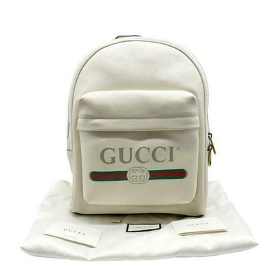 Gucci Logo Print White Leather Backpack