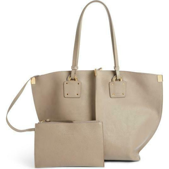Chloé Vick Grey Beige Leather Tote
