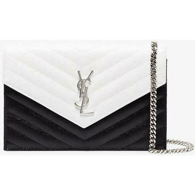 Saint Laurent Envelope Chain Wallet White Monogram Quilted Black Leather Cross Body Bag