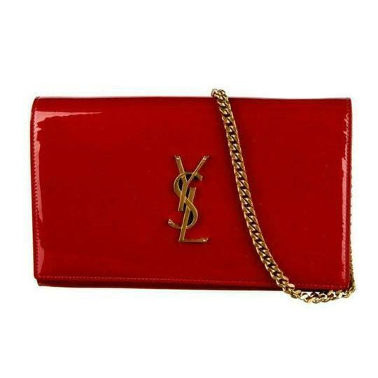 Saint Laurent Monogram Kate Chain Wallet Medium Envelope Red Patent Leather Cross Body Bag