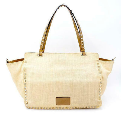 Valentino Vitello Medium Rockstud Beige Canvas Tote