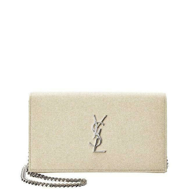 Saint Laurent Monogram Kate Chain Wallet Medium WOC Sparkle Gold