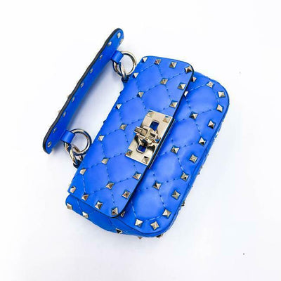 Valentino Micro Rockstud Spike It Blue Leather Shoulder Bag