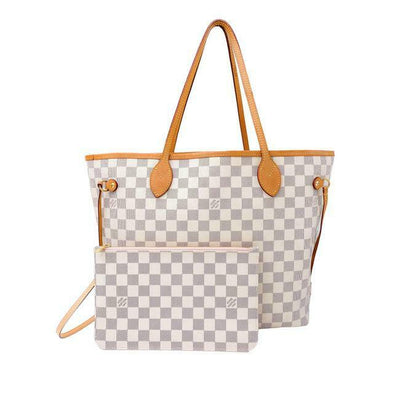 Louis Vuitton Neverfull Neo Mm Rose Ballerine White Damier Azur Canvas Shoulder Bag