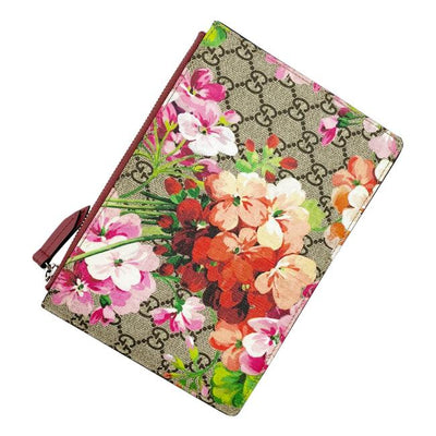 Gucci Gg Blooms Pouch Pink Canvas Clutch