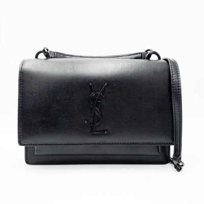 Saint Laurent Monogram Top Handle Sunset Noir Bhw Black Leather Shoulder Bag