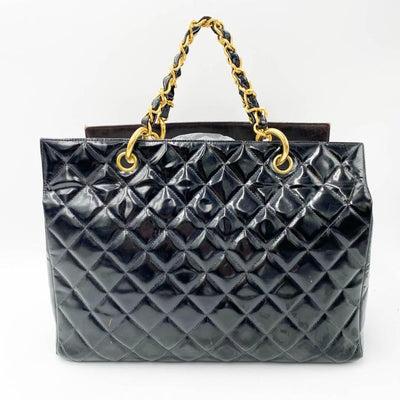 Chanel Shopping Grand Gst Black Patent Leather Tote