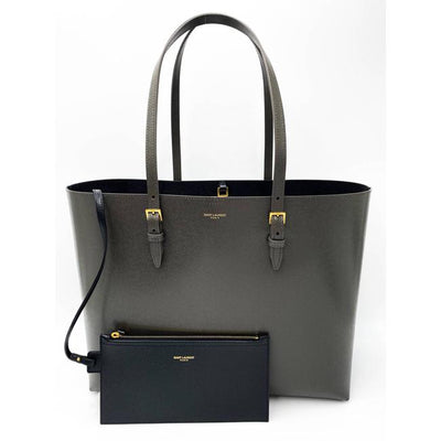 Saint Laurent Monogram Medium Shopping Bouclé Grey Leather Tote