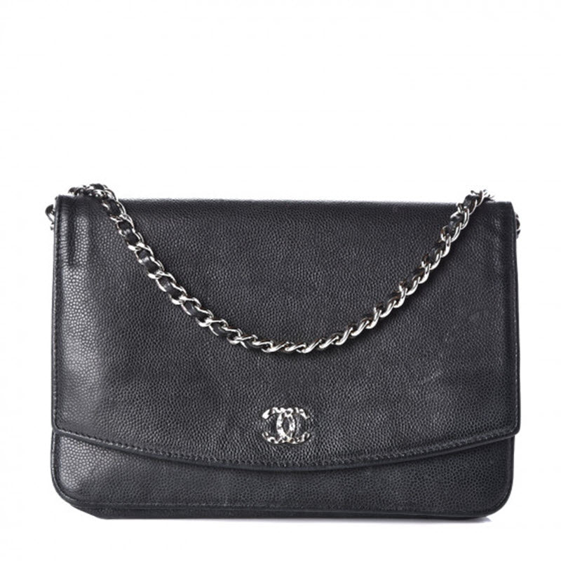 Chanel Wallet on Chain Caviar Sevruga Woc Black Leather Cross Body Bag