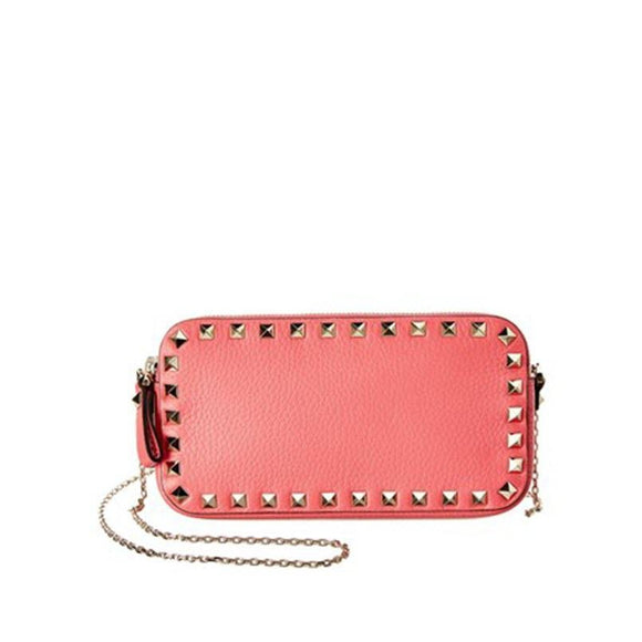 Valentino Rockstud Chain Wallet Pink Leather Cross Body Bag $1295 Crossbody