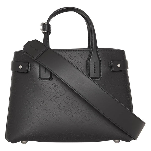 Burberry Small Banner Black Perforated Leather Tote House Check