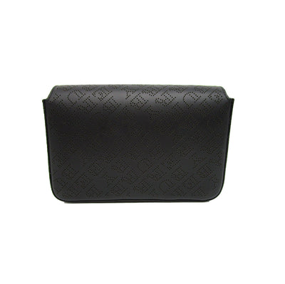 Burberry Perforated Logo Chain Wallet with Detachable Strap Black Leather Clutch