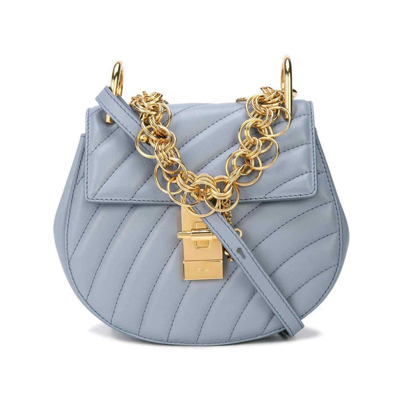 Chloe Drew Mini Bijou Leather Crossbody Washed Blue