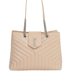 Saint Laurent Monogram Loulou Large Monogram Poudre Chain Beige Leather Tote