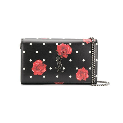Saint Laurent Chain Wallet Monogram Kate Polka Dot Rose Medium Black Calfskin