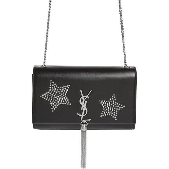 Saint Laurent Monogram Kate Monogram Medium Tassel Stars Black Calfskin Leather