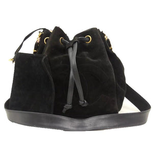 CHANEL Black Vintage Suede CC Chain Bucket Backpack Shoulder Bag - MyDesignerly