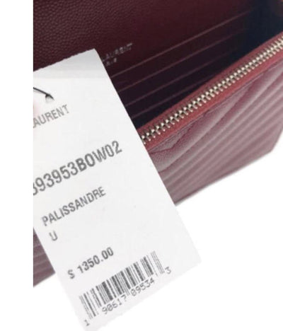 Saint Laurent Chain Wallet Monogram Crossbody WOC Envelope Burgundy Palissandre