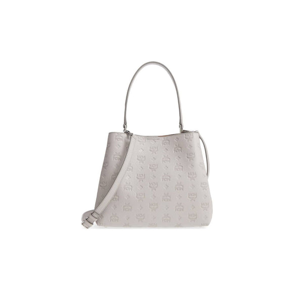 MCM Convertible Motty Gray Leather Hobo Bag - MyDesignerly