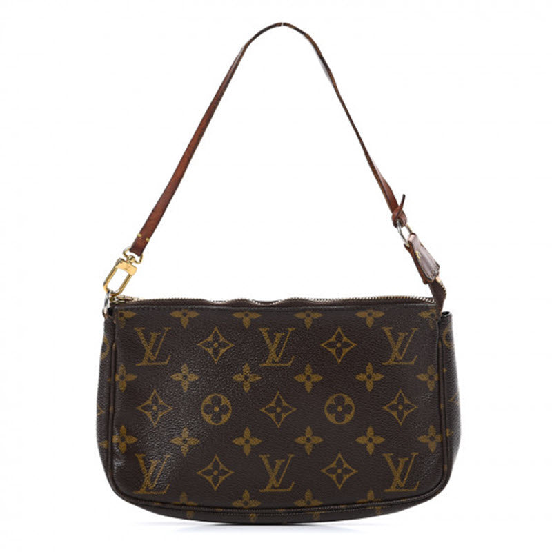Louis Vuitton Pochette Monogram Accessories Brown Coated Canvas Shoulder Bag