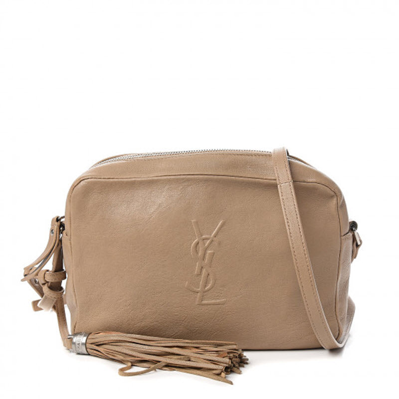Saint Laurent Monogram Lou Camera Small Dark Beige Lambskin Leather Shoulder Bag