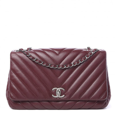Chanel Classic Chevron Quilted Medium Surpique Flap Dark Red Lambskin Leather Shoulder Bag