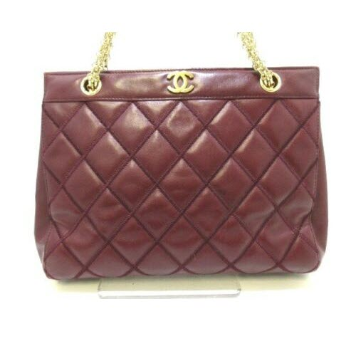CHANEL Vintage Matelasse Bordeaux Leather Tote Bag