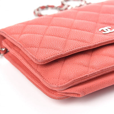 Chanel Wallet on Chain Iridescent Caviar Quilted Woc Coral Pink Leather Cross Body Bag
