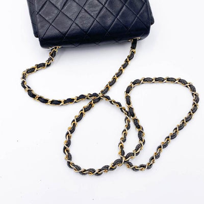 Chanel Classic Flap 2.55 Reissue Mini Square Quilted Chain Link Black Lambskin Leather Cross Body Bag