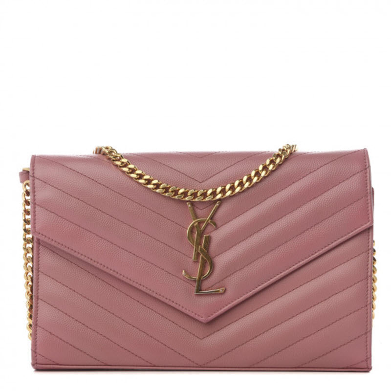 Saint Laurent Grain De Poudre Matelasse Chevron Monogram Woc Blush Fonce Pink Leather Shoulder Bag