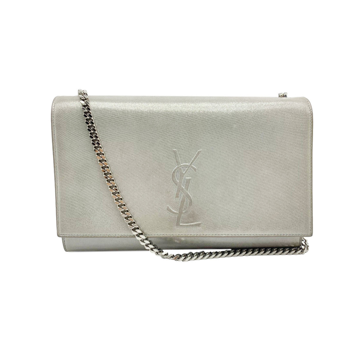 Saint Laurent Medium Kate Monogram Suede Silver Chain Crossbody $1990 YSL